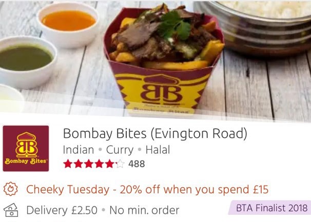 Bombay Bites Evington Road 20% off Just Eat 'Cheeky Tuesdays' Leicester