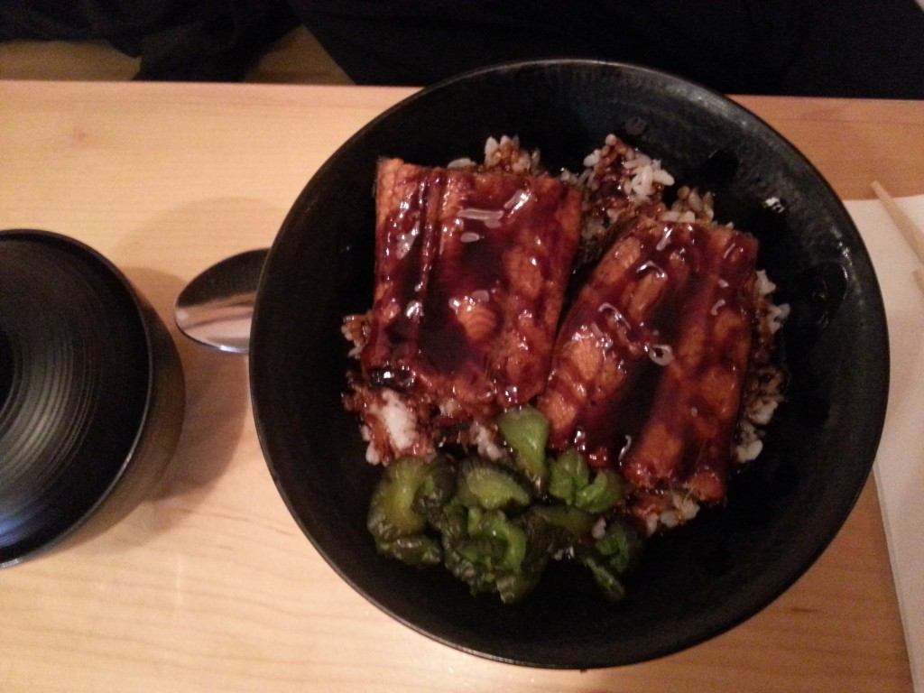 Unagi Don - Grilled eel fillets in eel sauce served with steamed rice, pickles and miso soup.