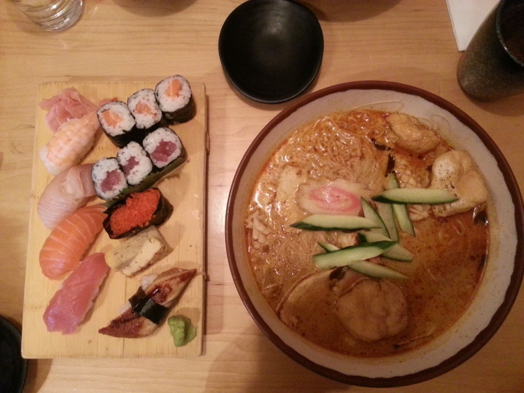 Deluxe Sushi Box and Curry Laksa