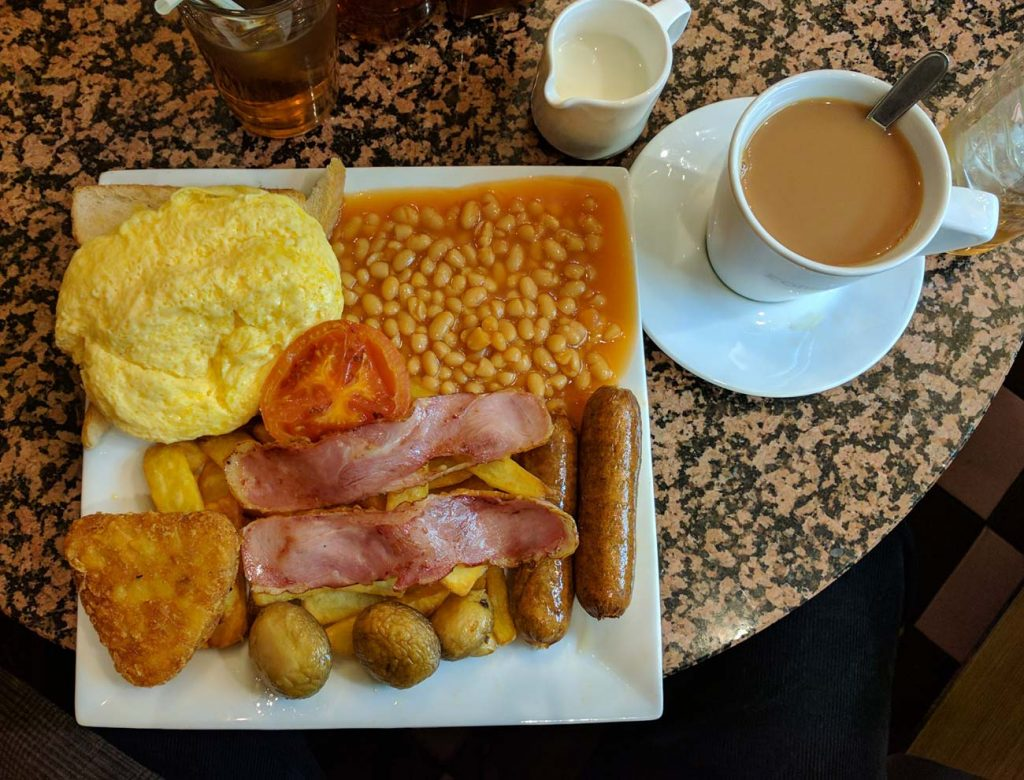 Chantal Ealing Full English Breakfast Omelette Hash Brown tea coffee