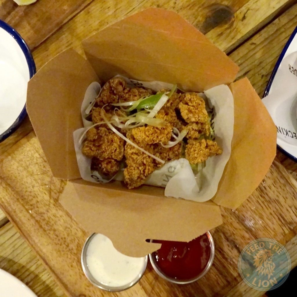 Buttermilk Popcorn Chicken – £6.00 – Honey Chipotle and a Blue ...