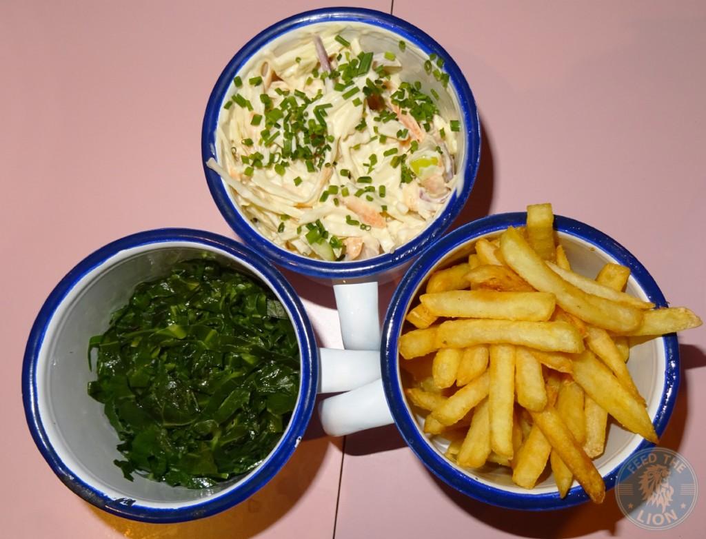 Ma Plucker Seasonal Greens £4 , Ma's Slaw £2.50, Fries £3.50