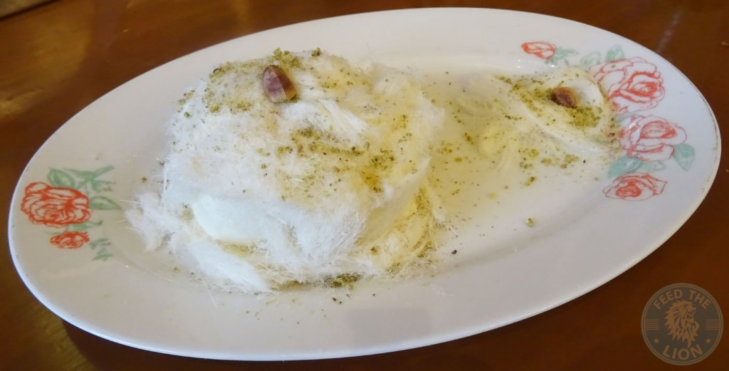 leila restaurant Atayef Beirut - Ashta ice cream with pistachio sprinkles