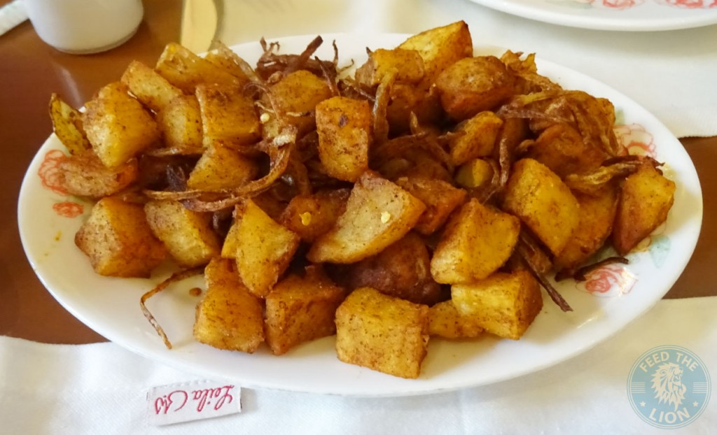 Spicy potato cubes leila restaurant dubai