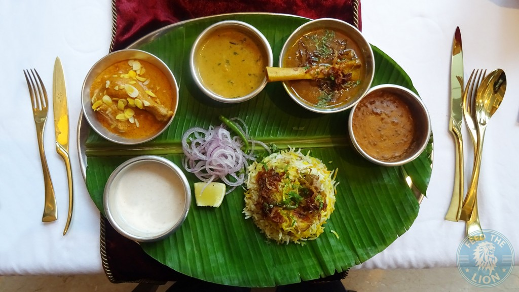 aAnanta Aamra Murgh Musallam , Jhinga ka salan , Shahi Nehari, Mung Daal, (bottom) Dum Turshi Gosht Biryan