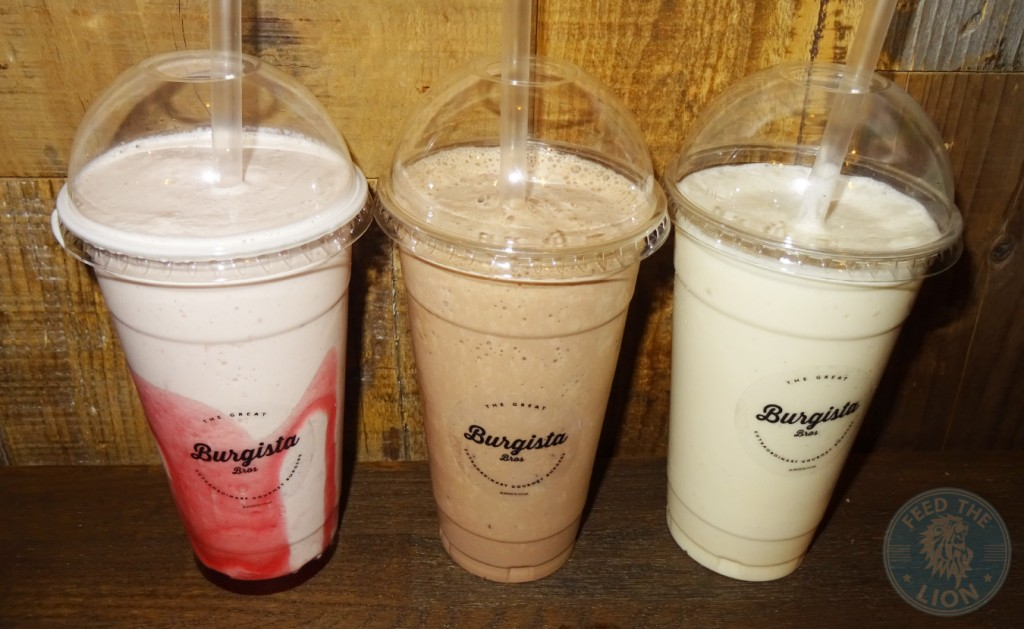 Burgista Bros SHAKES - Strawberry £3.49, Chocolate £3.49, Vanilla £2.99 milkshakes