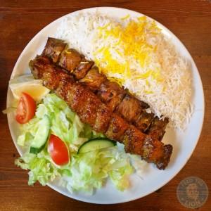 persian palace west ealing halal Soltani - Cubed lamb fillet & minced lamb kebab £12