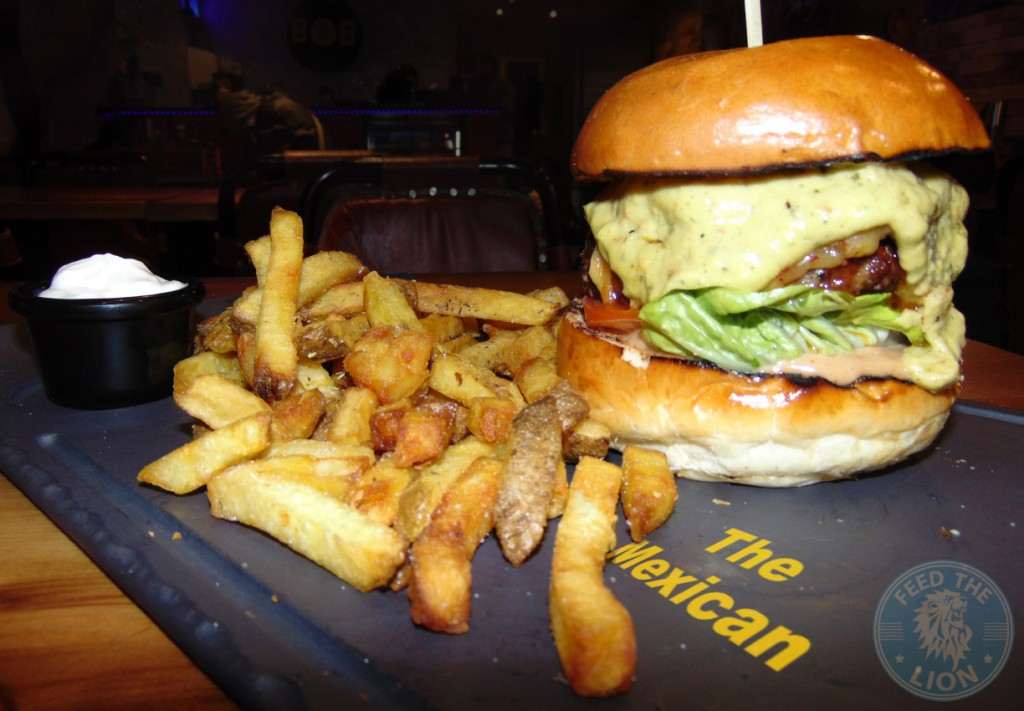 band of burgers camden The Mexican - Beef burger, jalapenos, chilli cheese, spiced tomato relish, guacamole & sour cream on the side £8.50 with Chips from £2.50