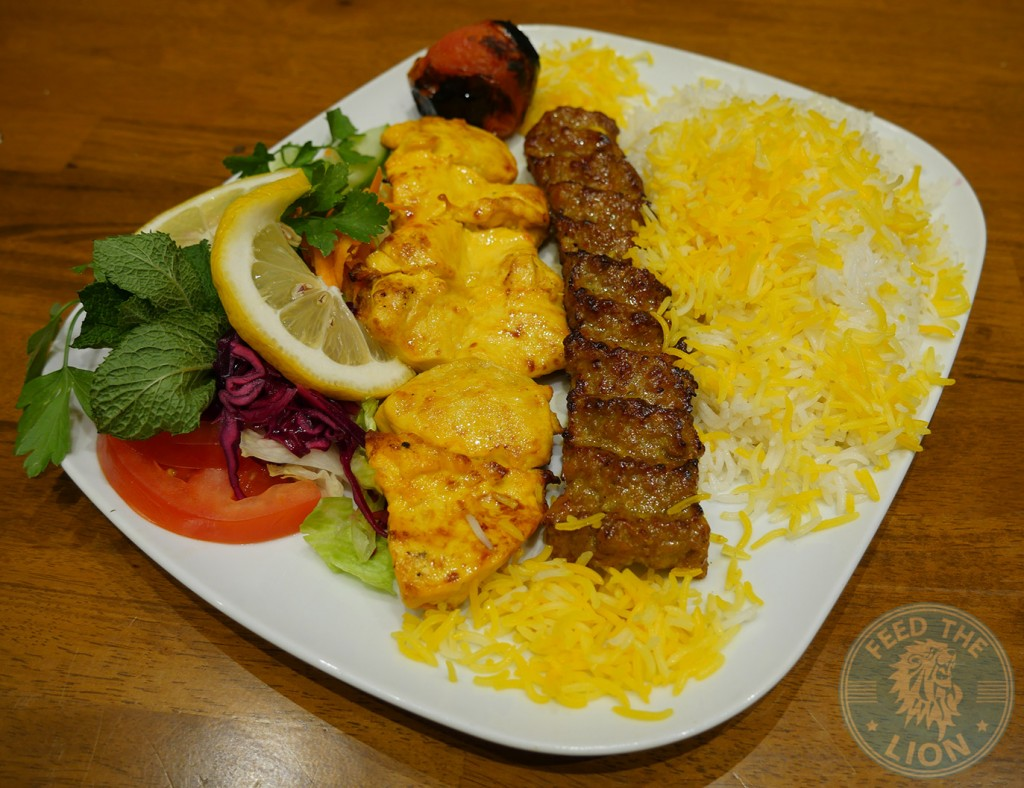 khatoon Momtaz One skewer of marinated chicken fillet & one skewer of minced lamb kebab served with rice, grilled tomato & salad