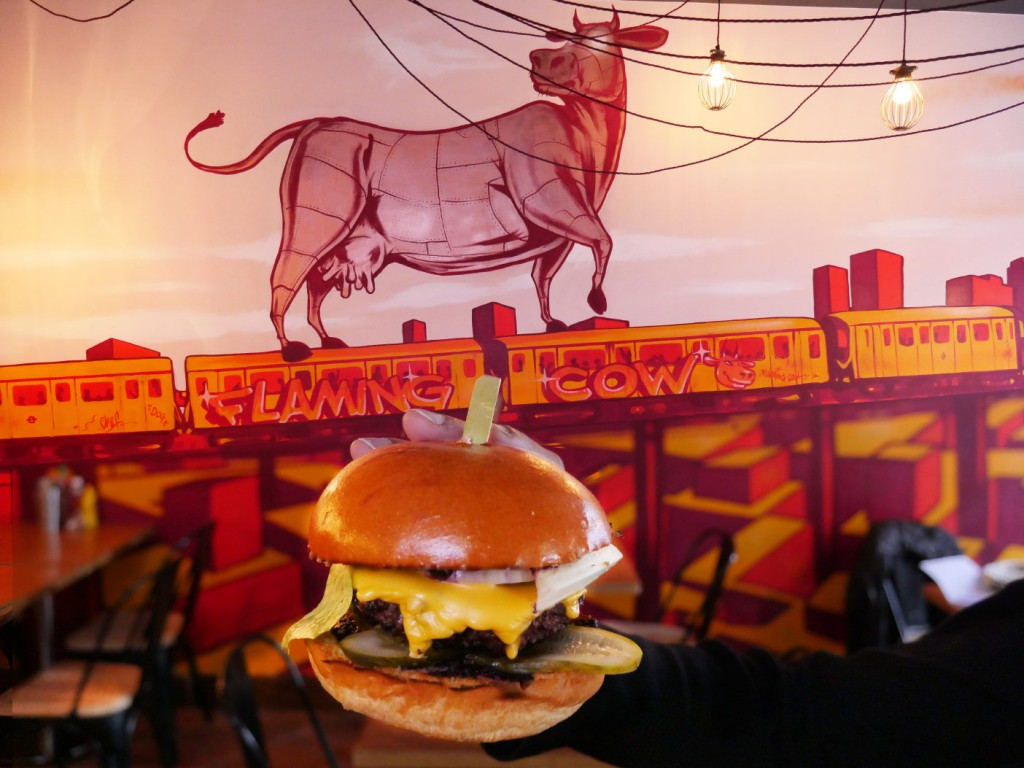 Flaming Cow Ealing Broadway Goutmet burger American dinning halal