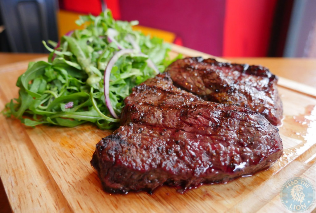 10oz Dry Aged Rump Steak - 28 day dry aged Dedham Vale rump steak, rocket and red onion salad & herb fries £15 flaming cow halal
