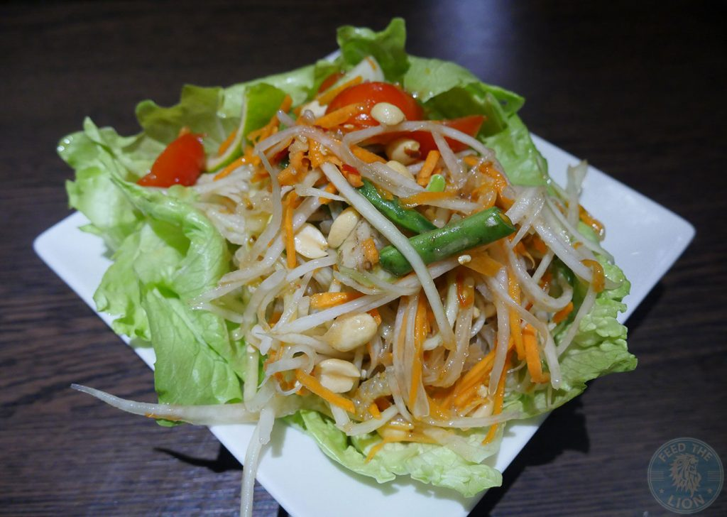 Thai Papaya Salad (N, V) - Thai's signature green papaya with tomatoes, French beans, carrots and peanuts, £8.95