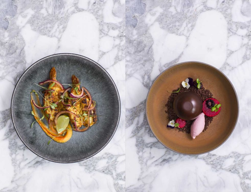 Butterfly Prawns (left), Chocolate Bomb (right)