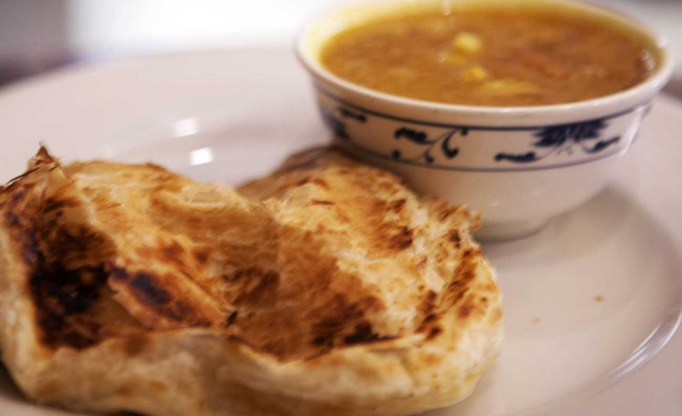 Roti Canai – Fluffy flat bread with lentil dhal