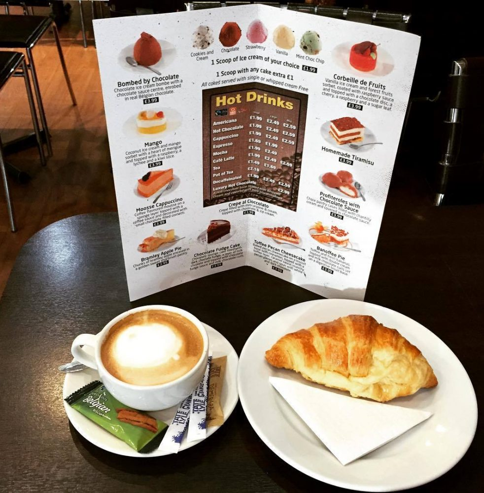 Any medium hot drink with croissant £1.99 (Mon-Fri 9am-12pm)