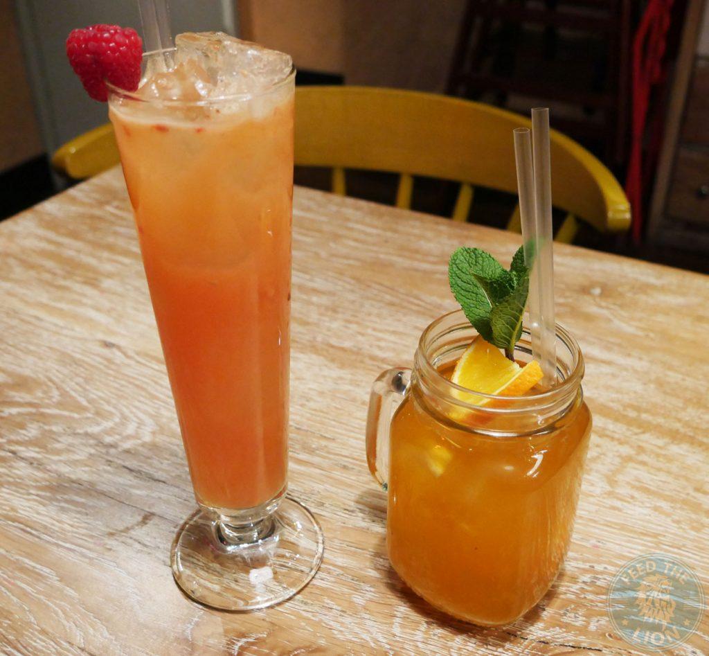 Raspberry & Apple Juice £3.00 & Hill Billy Ice Tea drinks