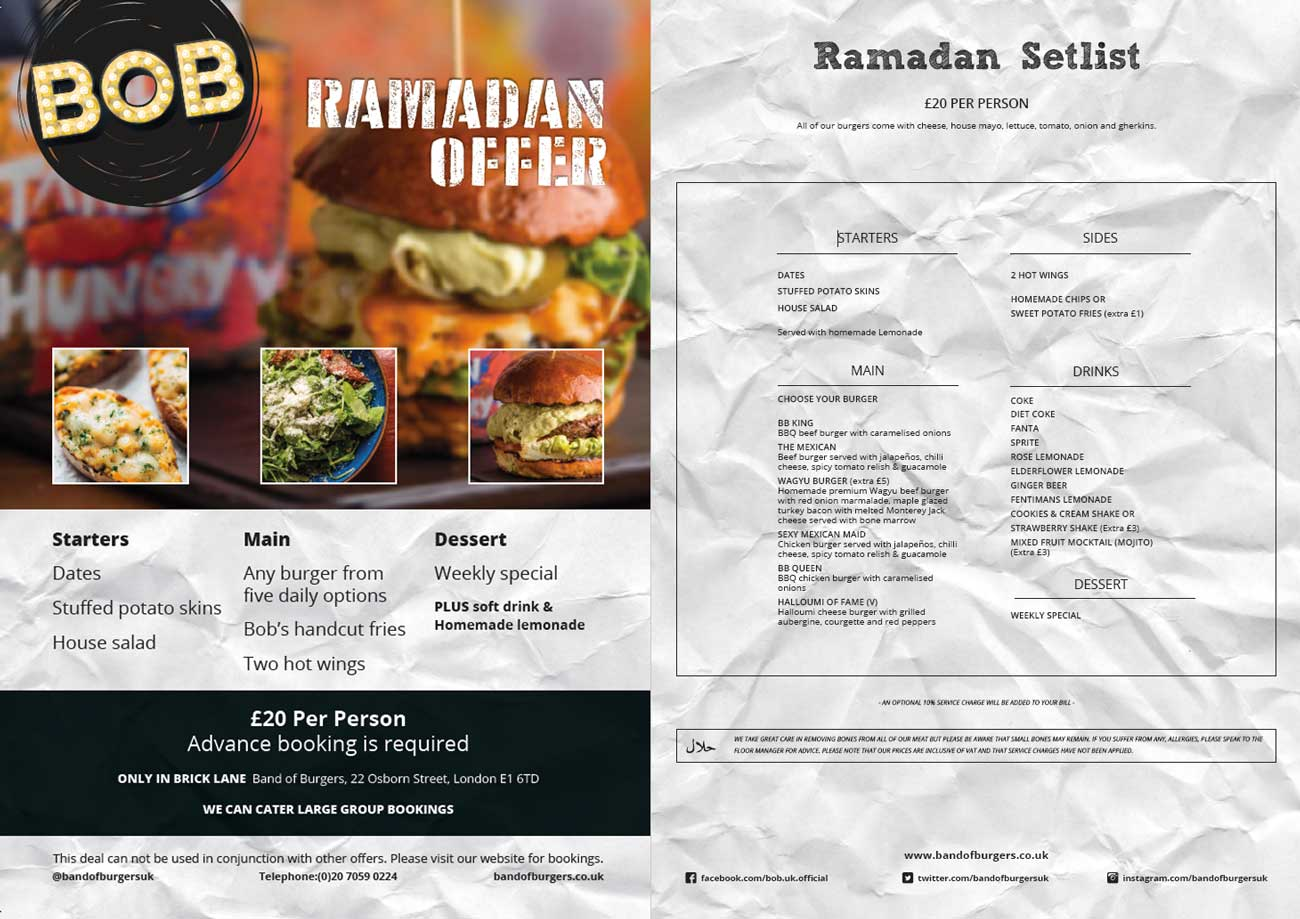 Ramadan iftar n suhoor in london and beyond feed the lion band of burgers in brick lane is offering an exclusive ramadan meal for 20 per person with advanced booking required and large group bookings available forumfinder Choice Image