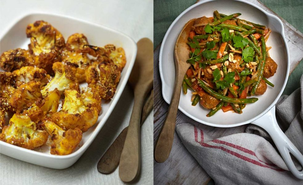 Tandoori Cauliflower (left), Thai Veggie Meatballs (right)