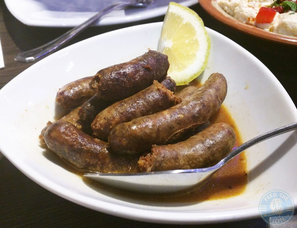 Nanerj Damascene Cuisine Edgware Road London Halal Restaurant, Nakanek Mini sausage