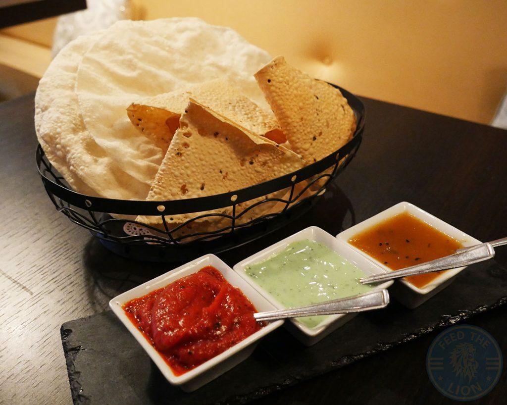 Salaam Namaste Bloomsbury restaurant Halal Curry Starter Papadums