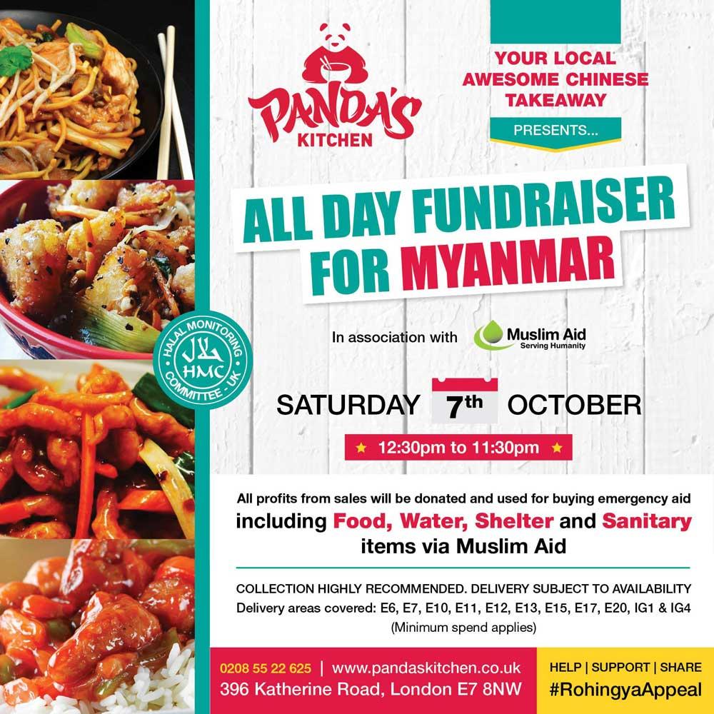 panda's kitchen muslim aid, myanmar rohingya fundraiser chinese restaurant take away