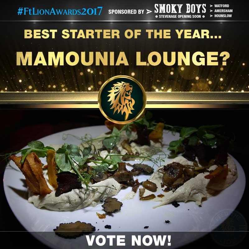 FtLion Awards 2017 Smoky Boys Starters Mamounia Lounge Truffle Houmus Hummus