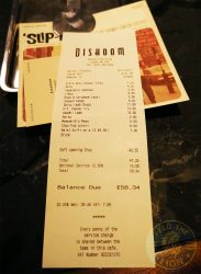 Dishoom Kensington Indian Irani Cafe Bombay bill
