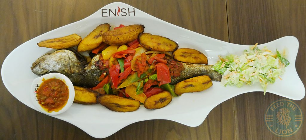 Enish Nigerian Finchley Restaurant Halal lamb fish Croaker Plantain