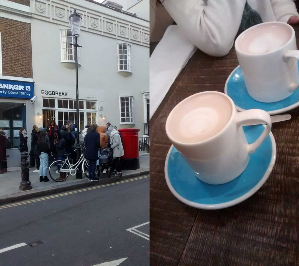 Egg Break Notting Hill London Turmeric Lattes
