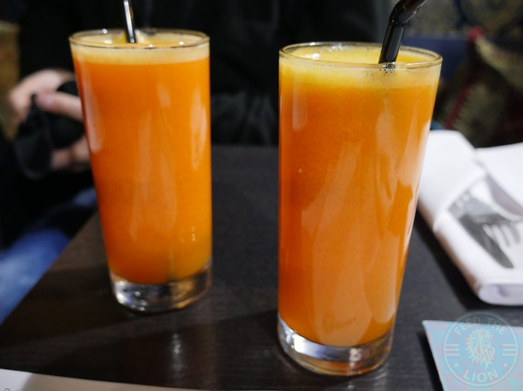 Orange & Carrot Juice KooKoo Grill Seafood Middle Eastern Persian Surbiton London