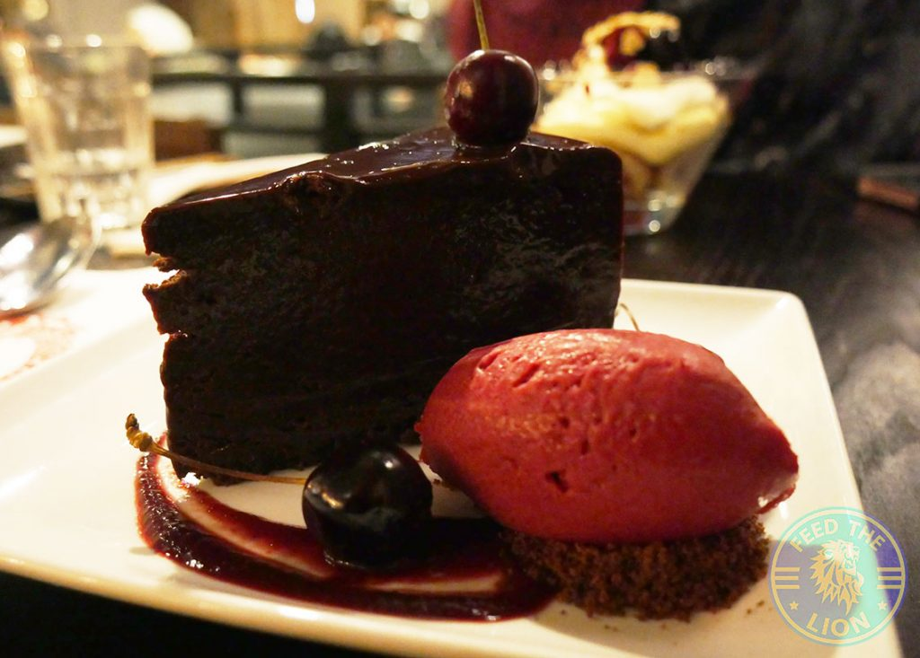 chocolate cake dessert PF Chang's asian table London Halal Restaurant Leicester Square Food
