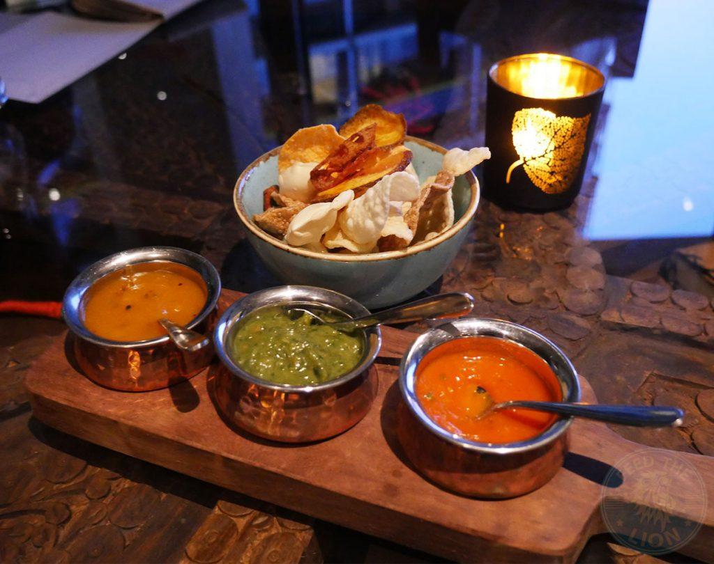 Chokhi Dhani Indian Halal restaurant Battersea chutni crackers