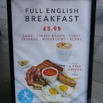 full English breakfast Chi Kitchen Halal Pan Asian London restaurant in Debenhams Oxford Street.