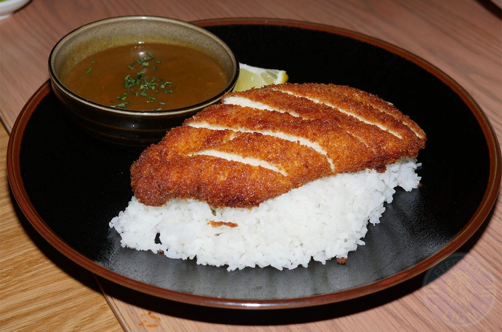 Chicken Katsu Curry rice Chi Kitchen Halal Pan Asian London restaurant in Debenhams Oxford Street.