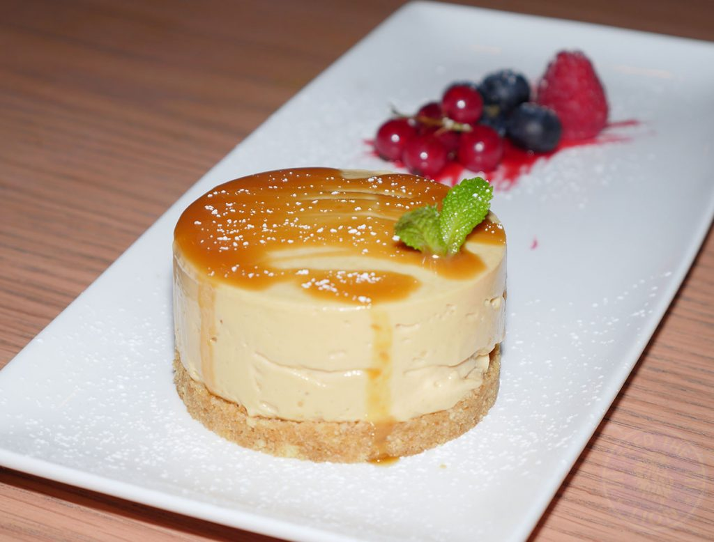 dessert Caramel Chessecake Chi Kitchen Halal Pan Asian London restaurant in Debenhams Oxford Street.