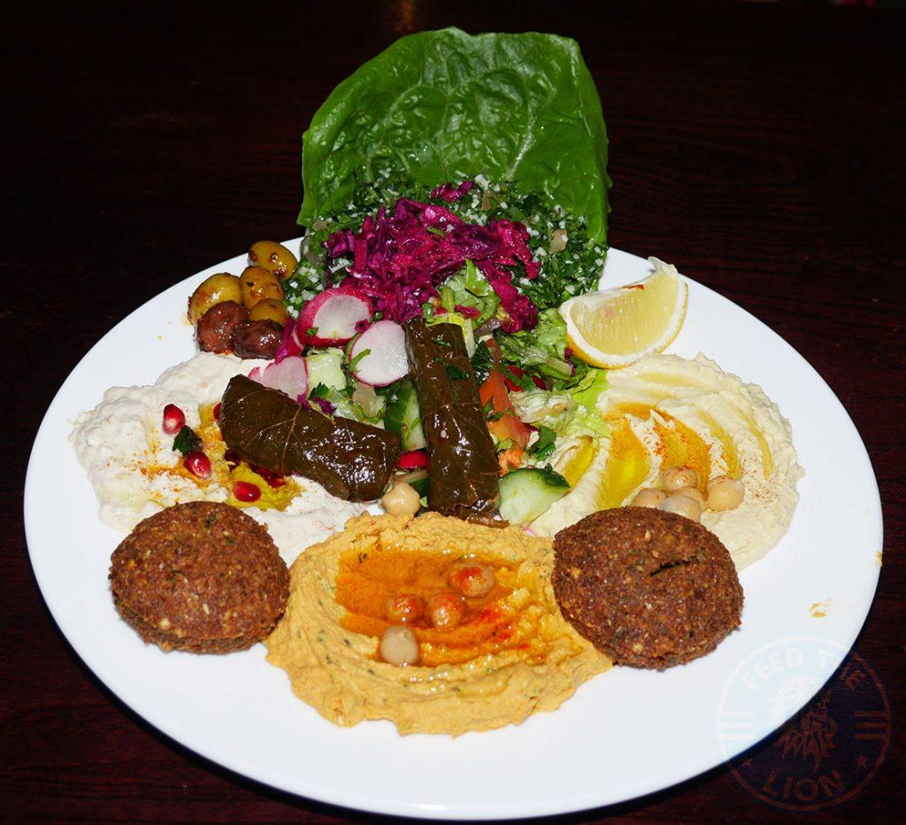 Mix Mezza Hummus, moutabal, muhamara, warak enab, tabbouleh, falafel, olives