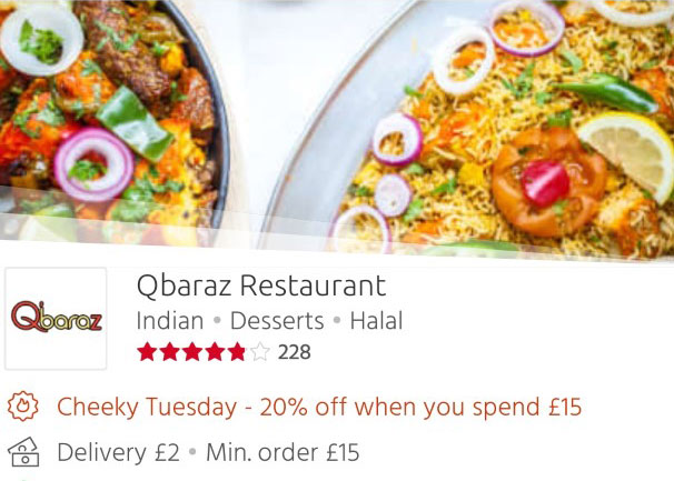 Qbaraz 20% off Just Eat 'Cheeky Tuesdays' Leicester