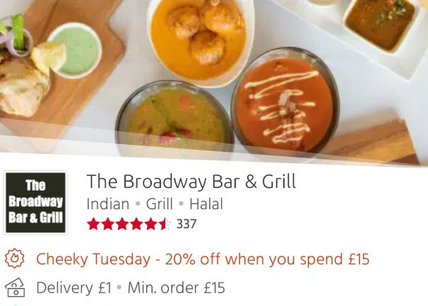 The Broadway Bar & Grill 20% off Just Eat 'Cheeky Tuesdays' Leicester