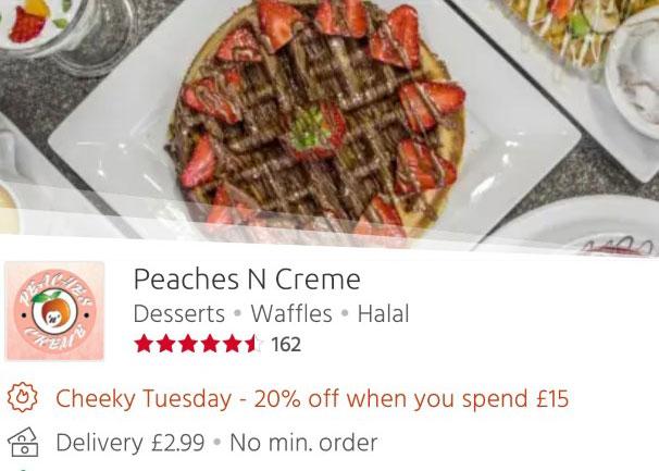 Peaches N Cream 20% off Just Eat 'Cheeky Tuesdays' Leicester