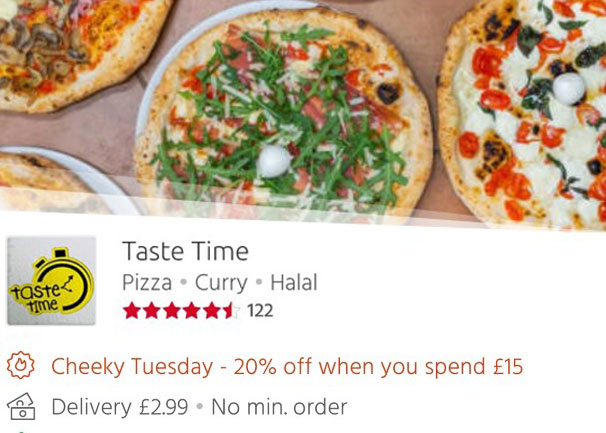 Taste Time 20% off Just Eat 'Cheeky Tuesdays' Leicester