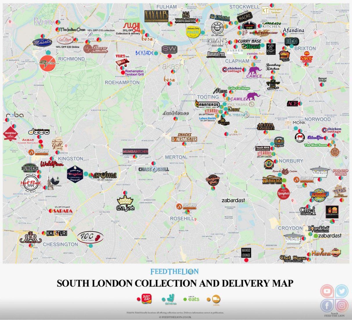 South London Halal London Delivery Takeaway Map