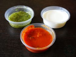 Pica de Gallo, Sour Cream, Salsa Verde