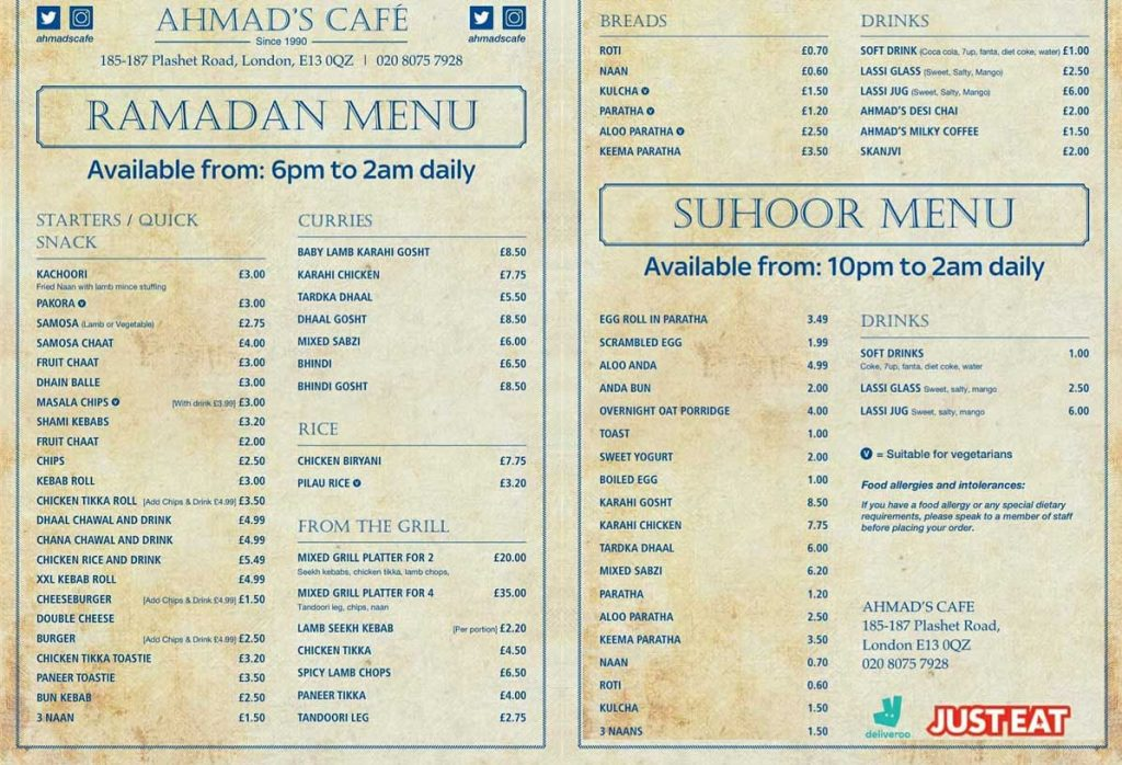 Ahmads Cafe Upton Park London Ramadan