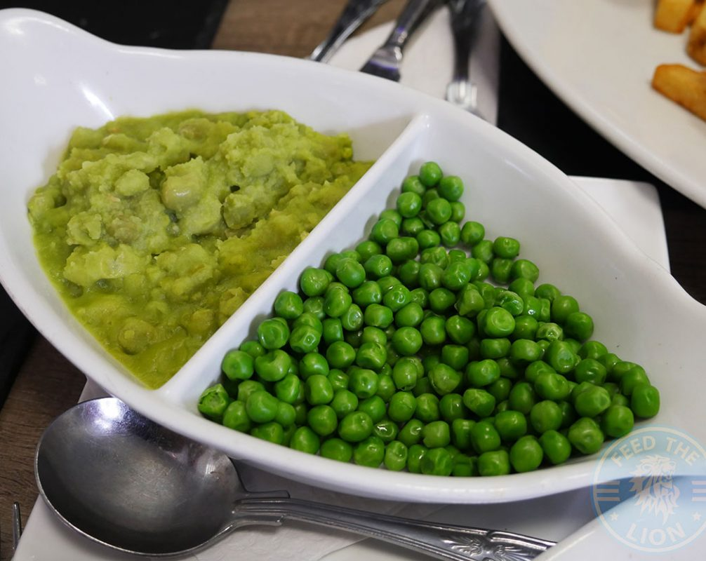 Fillet of Haddock- served with mushy or garden peas and tartare sauce, £10.00