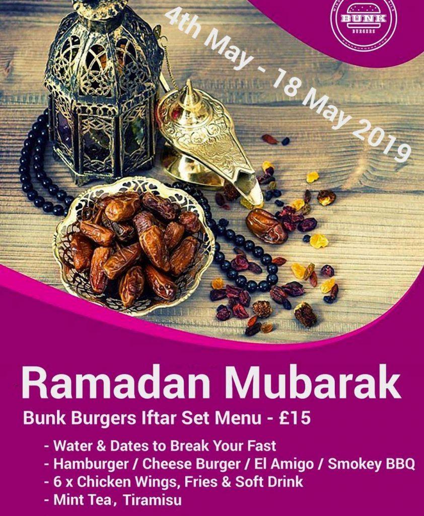 Bunk Burgers Iftar Streathem london ramadan iftar restaurant halal
