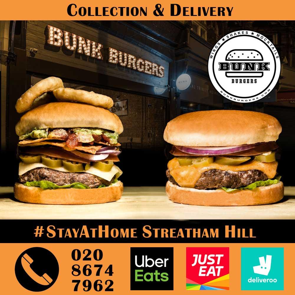 Bunk Burgers Streatham Brixton London Delivery Takeaway