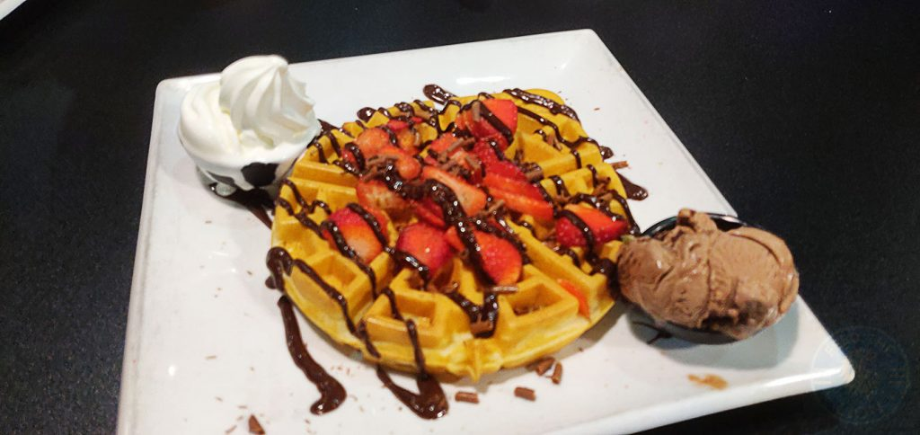STRAWBERRY CHOC INDULGENCE WAFFLE Creams dessert restaurant Ealing Broadway Ice Cream