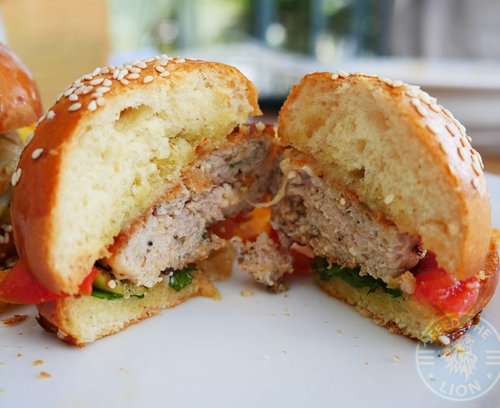Chicken Burger – BBQ sauce, tomato, greenb salad, olive, cheddar, tempura fried basil.