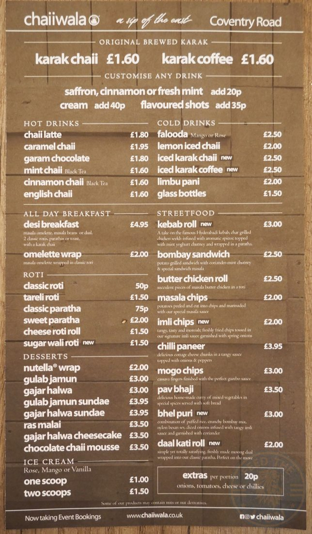 Menu Breakfast Chaii Wala Indian Halal Restaurant Coventry