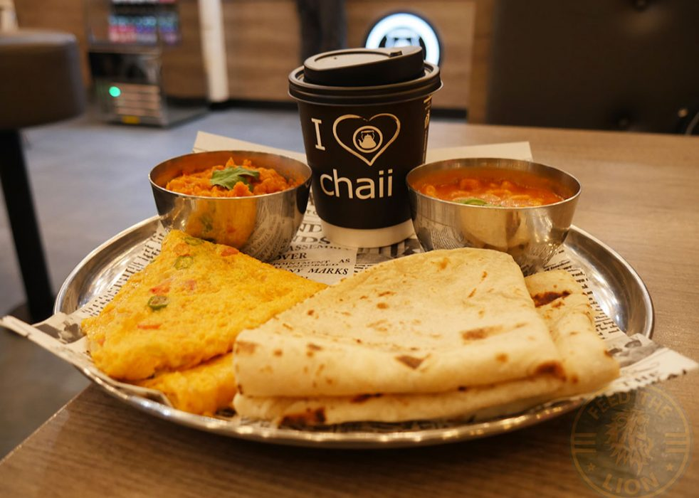 Desi Breakfast – Masala omelette, masala beans or daal, two classic roti or toast and karak chaii, £4.95